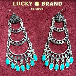 Turquoise Lucky Brand pave drop earrings like new